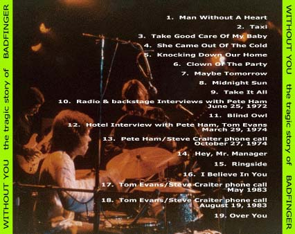 Without You, The Tragic Story of Badfinger 2nd edition CD tray card