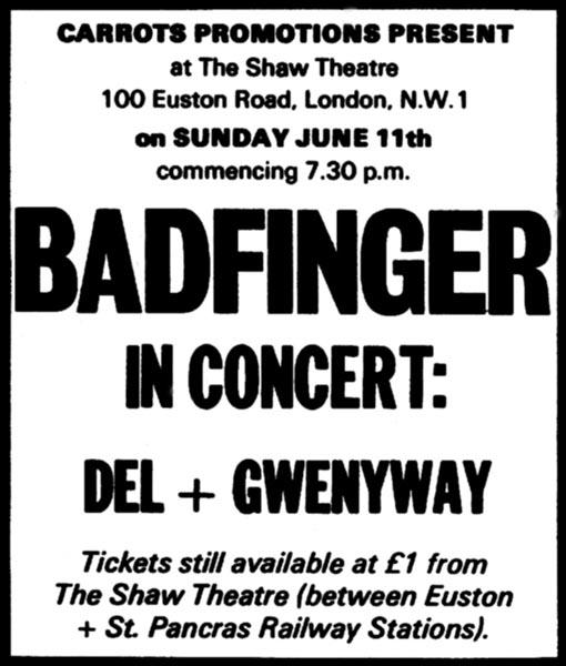 badfinger concerts 1972 compiled by tom brennan