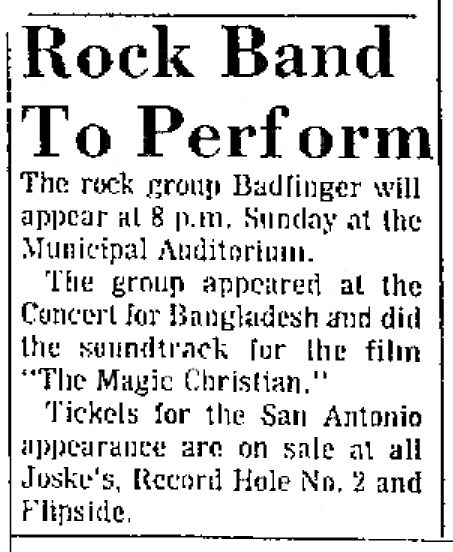 Badfinger concerts 1974 compiled by Tom Brennan